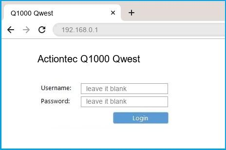 Actiontec Q1000 Qwest router default login