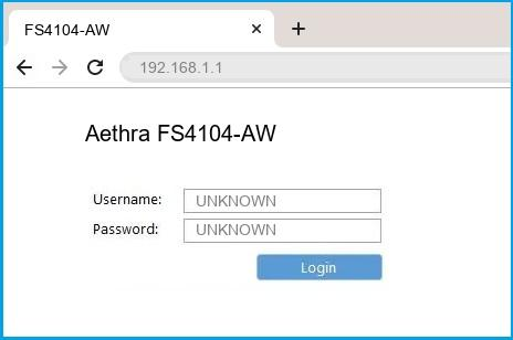 Aethra FS4104-AW router default login