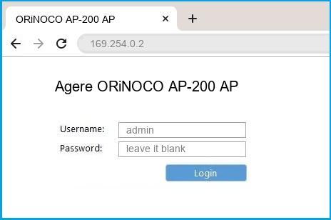 Agere ORiNOCO AP-200 AP router default login