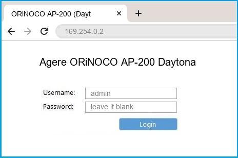 Agere ORiNOCO AP-200 Daytona router default login
