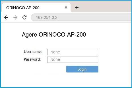 Agere ORiNOCO AP-200 router default login