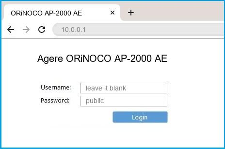 Agere ORiNOCO AP-2000 AE router default login