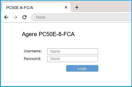 Agere PC50E-8-FCA router default login