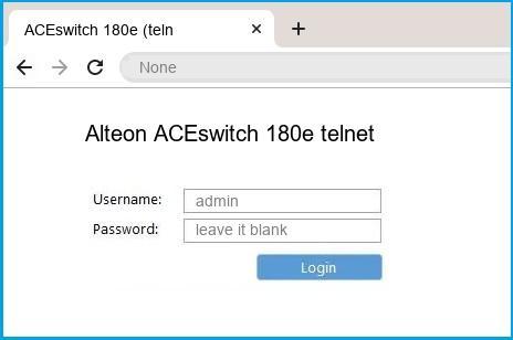 Alteon ACEswitch 180e telnet router default login