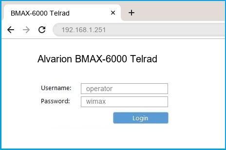 Alvarion BMAX-6000 Telrad router default login