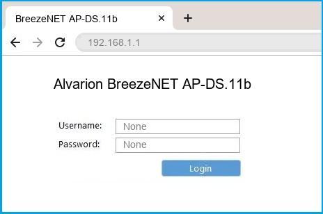 Alvarion BreezeNET AP-DS.11b router default login