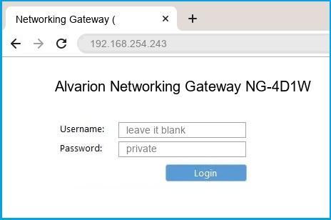 Alvarion Networking Gateway NG-4D1W router default login
