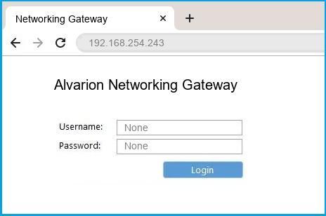 Alvarion Networking Gateway router default login