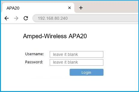Amped-Wireless APA20 router default login