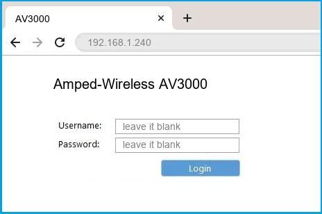 Amped-Wireless AV3000 router default login