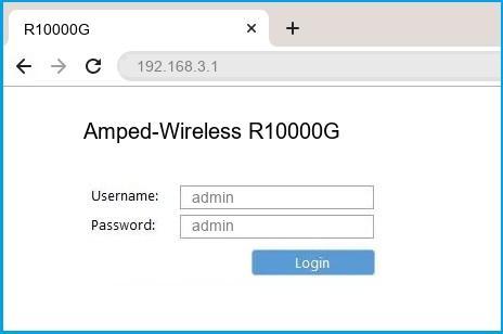 Amped-Wireless R10000G router default login