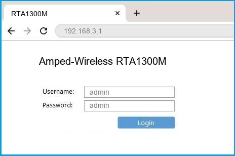 Amped-Wireless RTA1300M router default login