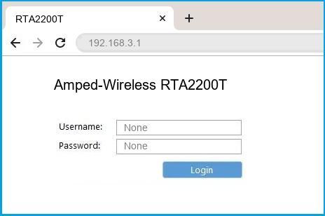Amped-Wireless RTA2200T router default login