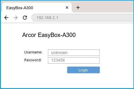 Arcor EasyBox-A300 router default login