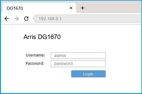 Arris DG1670 router default login