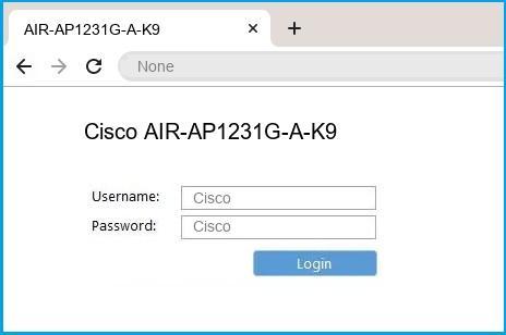 Cisco AIR-AP1231G-A-K9 router default login
