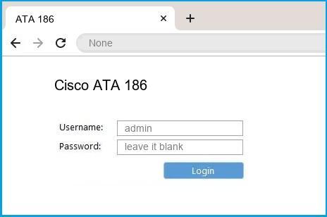 Cisco ATA 186 router default login
