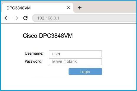 Cisco DPC3848VM router default login