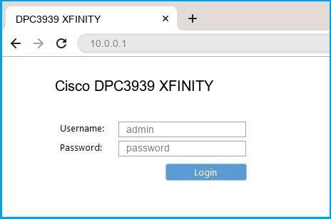 Cisco DPC3939 XFINITY router default login