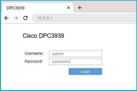 Cisco DPC3939 router default login