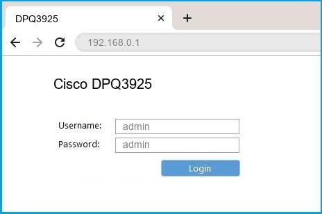 Cisco DPQ3925 router default login
