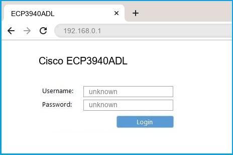 Cisco ECP3940ADL router default login