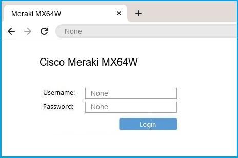 Cisco Meraki MX64W router default login