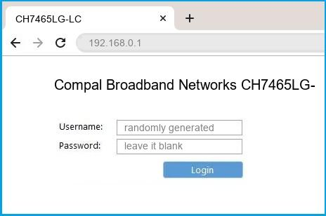 Compal Broadband Networks CH7465LG-LC router default login