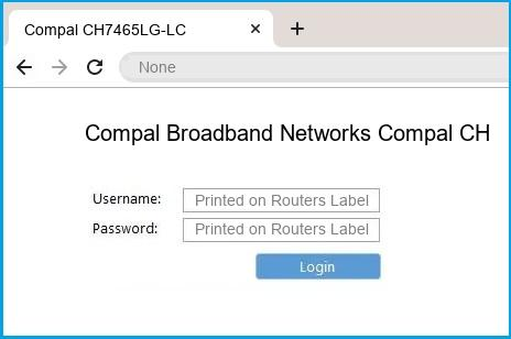 Compal Broadband Networks Compal CH7465LG-LC router default login