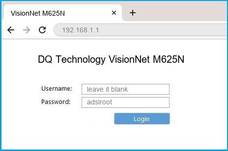DQ Technology VisionNet M625N router default login