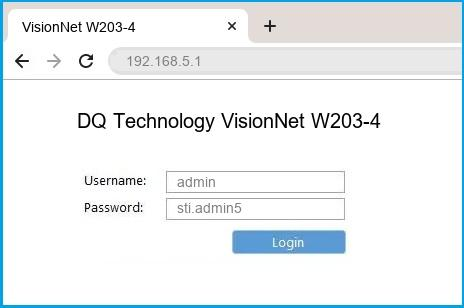 DQ Technology VisionNet W203-4 router default login