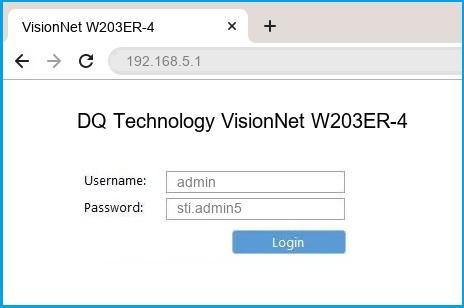 DQ Technology VisionNet W203ER-4 router default login