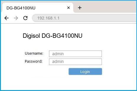 Digisol DG-BG4100NU router default login