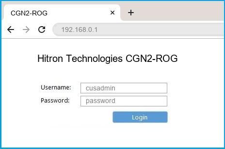 Hitron Technologies CGN2-ROG router default login