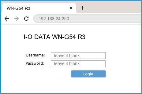 I-O DATA WN-G54 R3 router default login