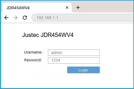 Justec JDR454WV4 router default login