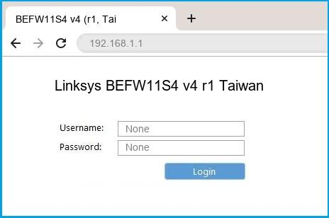 Linksys BEFW11S4 v4 r1 Taiwan router default login