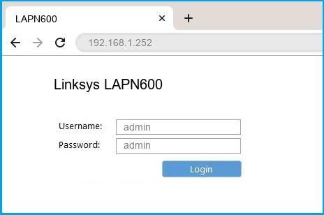 Linksys LAPN600 router default login