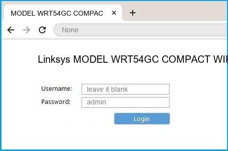 Linksys MODEL WRT54GC COMPACT WIRELESS-G BROADBAND ROUTER router default login