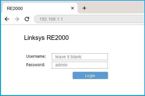 Linksys RE2000 router default login