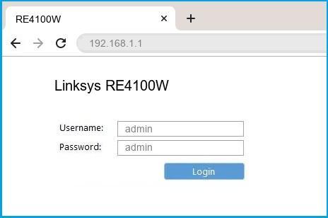 Linksys RE4100W router default login
