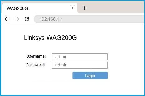 Linksys WAG200G router default login