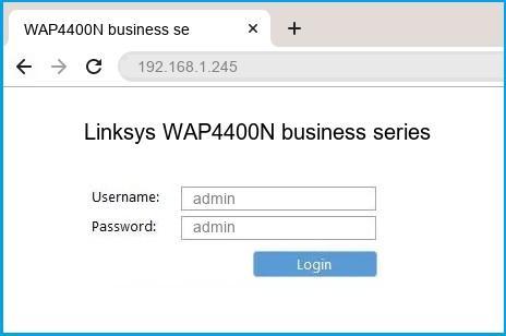 Linksys WAP4400N business series router default login