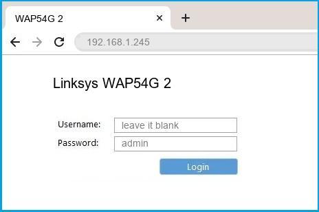 Linksys WAP54G 2 router default login