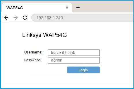 Linksys WAP54G router default login
