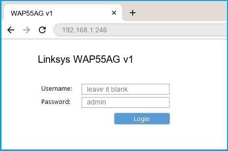 Linksys WAP55AG v1 router default login