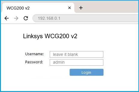 Linksys WCG200 v2 router default login