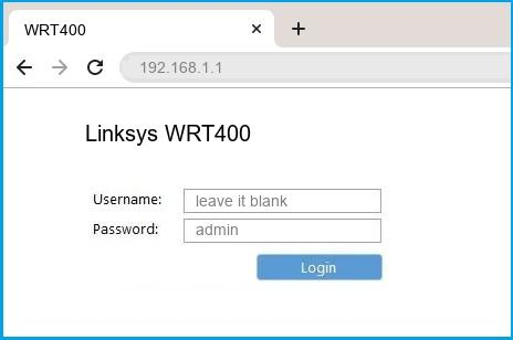 Linksys WRT400 router default login