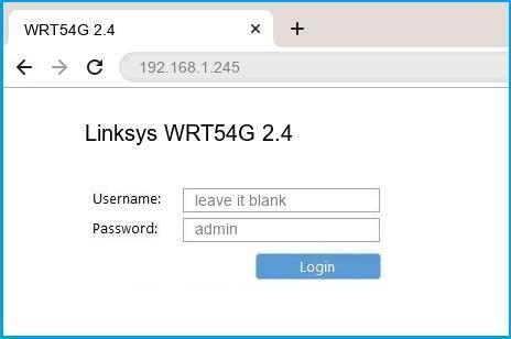 Linksys WRT54G 2.4 router default login