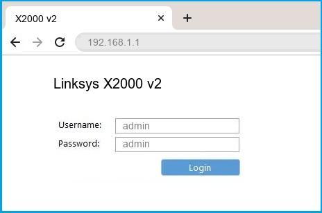 Linksys X2000 v2 router default login